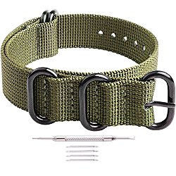 Ritche 18mm 20mm 22mm Nato Strap With Black Heavy Buckle Replacement Timex Weekender Watch Band