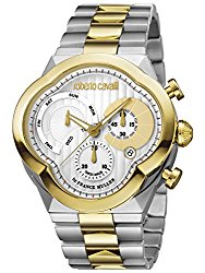 Roberto Cavalli by Franck Muller Men's 'CLOVER' Quartz Stainless Steel Casual Watch, Color:Two Tone (Model: RV1G028M0106)
