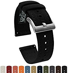 BARTON Canvas Quick Release Watch Band Straps – Choose Color & Width – 18mm, 20mm, 22mm