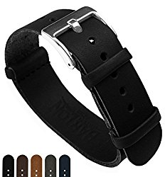 BARTON Leather NATO Style Watch Straps – Choose Color, Length & Width – 18mm, 20mm, 22mm, 24mm Bands