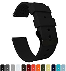 BARTON Silicone Quick Release – Black Buckle – 16mm, 18mm, 20mm or 22mm – Silky Soft Rubber Watch Bands