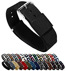 BARTON Watch Bands – Choice of Color, Length & Width (18mm, 20mm, 22mm or 24mm) – Ballistic Nylon Straps