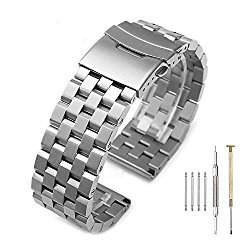 Brushed 316L Solid Stainless Steel Watch Bands Strap 20mm/22mm/24mm Double Locking Clasp Mens Black/Silver