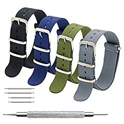 CIVO Nato Strap 4 Packs – 16mm 18mm 20mm 22mm 24mm Premium Ballistic Nylon Watch Bands Zulu Style with Stainless Steel Buckle