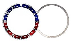 Ewatchparts BEZEL & INSERT + TENSION SPRING FOR ROLEX BLUE/RED PEPSI GMT I 1670,1675,16750,SS