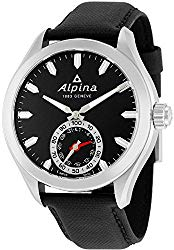 Alpina Horological Smartwatch Mens Fitness Watch – 44mm Black Face Swiss Quartz 2 Year Battery Life Running Watch – Black Leather Band Water Resistant Sleep Monitor Activity Tracker Watch AL-285BS5AQ6