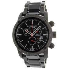 B u r b e r r y Sport Chronograph Black Dial Black Rubber Mens Watch BU7703