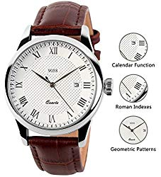 Mens Analog Quartz Wrist Watch – Classic Casual Watch with Brown Leather Band Large Face Watches for Men
