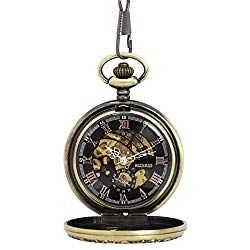 NICERIO Men Pocket Watch,Roman Numerals Semi-Auto Mechanical Windup Steampunk Pocket Watch with Fob Chain,Bronze