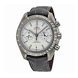 Omega Speedmaster Professional Grey Side of the Moon Chronograph Automatic Sandblasted Platinum Dial Grey Leather Mens Watch 311.93.44.51.99.001