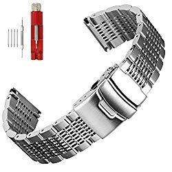 Solid Mesh Stainless Steel Watch Bands 20mm/22mm/24mm Deployment Buckle Brushed/Polished Strap for Men Women