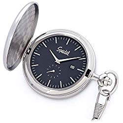 Speidel Classic Brushed Satin Silver-Tone Engravable Pocket Watch with 14″ Chain, Navy Blue Dial, Date Window, and Seconds Sub-Dial