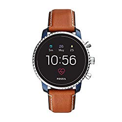 Fossil Men's Gen 4 Q Explorist HR Stainless Steel and Leather Touchscreen Smartwatch, Color: Blue, Brown (Model: FTW4016)