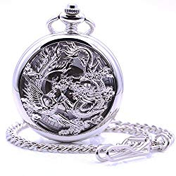 Antique Silver Dragon and Phoenix Hand-Wind Mechanical Pocket Watch, Mens Womens Pocket Watch with Chain + Box