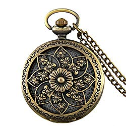 JewelryWe Retro Bronze Flower Openwork Cover Quartz Pocket Watch with 32.3 Inch Chain
