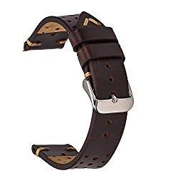 EACHE Perforated Watch Band,Rally Racing Leather Watch Strap,Vegetable Tanned Oil Waxed & Suede Calfskin,18mm 20mm 22mm