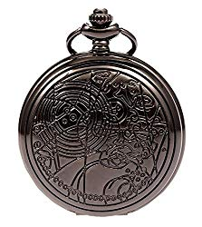 Vintage Black Doctor Who Retro Dr. Who Quartz Pocket Watch with Chain & Gift Box