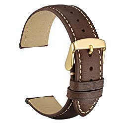 WOCCI Watch Band, Vintage Leather Strap with Gold Buckle, Choice of Color/Width(18mm,19mm,20mm,21mm,22mm)