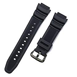 Replacement Watch Band 18mm Black Resin Strap for Casio Men's G-Shock SGW-400H/SGW-300H