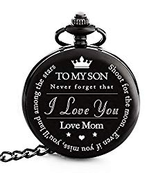 "To My Son | Mother and Son Gift – Engraved ""To My Son Love Mom"" Pocket Watch – Perfect Gifts for Son from Mom for Christmas, Valentines Day, Birthday"