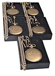 5 Custom Engraved Pocket Watches – Gift Set for His or her Wedding Set – Groomsmen Personalized Watches with Chain and Box Included – Engraving Included