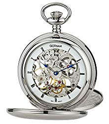 Gotham Men's Silver-Tone Mechanical Pocket Watch with Desktop Stand # GWC18804S-ST