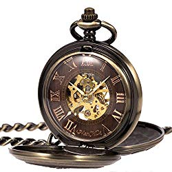 ManChDa Antique Men Pocket Watch Double Hunter Automatic Mechanical Bronze Case 3D Steam Train Railroad Ruman Numerals