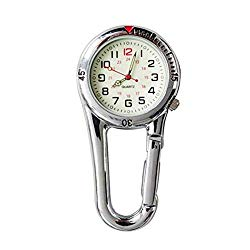 NICERIO Clip-on Fob Watch,Night Light Alloy Quartz Watch Ideal for Doctors Nurses Rock Climbing Mountaineering (White)