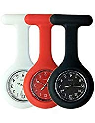 Set of 3 Nurse Watch Brooch, Silicone with Pin/Clip, Glow Pointer in Dark, Infection Control Design, Health Care Nurse Doctor Paramedic Medical Brooch Fob Watch – White Red Black