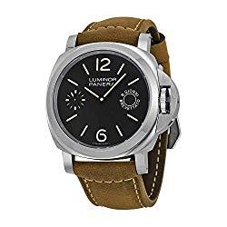 Panerai Men's Stainless Steel Quartz Watch with Canvas Strap, Brown (Model: pam00590)