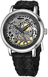 Eterna Special Edition 1856 Skeleton Mens Mechanical Watch – 42mm Grey Open Face with Second Hand and Sapphire Crystal – Black Braided Leather Band Swiss Made Luxury Watch 7000.41.14.1409