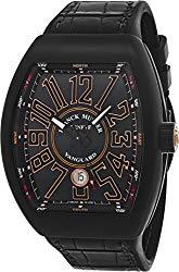 Franck Muller Vanguard Mens Automatic Date Black Titanium Face Black Rubber Strap Watch V 45 SC DT TT NR BR.SN