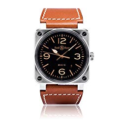 Bell and Ross Aviation Gold Heritage Black Dial Leather Mens Watch BR0392-GOLD-HER