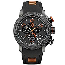 LIV GX1 Swiss Analog Display Chronograph Casual Watch for Men; 45 mm Stainless Steel with Date Calendar; 1000 feet Waterproof – Signature Orange