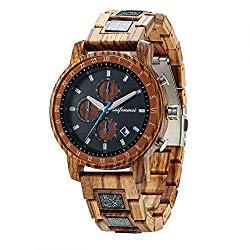 Mens Wooden Watches, shifenmei S5573 100% Handmade Super Light 24H/Stopwatch/Date Luminous Hands WoQuartz Wood Watch for Man, Adjustable Bracelet Band Watch with Gift Box