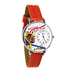 Whimsical Watches Unisex U0410003 Knitting Red Leather Watch