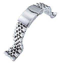 22mm Angus-J Louis Watch Bracelet for Seiko SKX007, 316L SS Brushed/Polished, V-Clasp