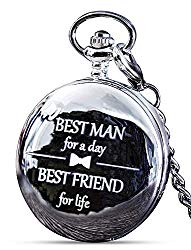 Best Man Gift for Wedding or Best Man Proposal – Engraved Best Man Pocket Watch – Luxury Wedding Gift