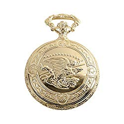 Daniel Steiger Flying Eagle Luxury Vintage Hunter Pocket Watch with Chain – Hand-Made Hunter Pocket Watch – 18k Gold Finish – Engraved Flying Eagle Design – White Dial with Black Roman Numerals