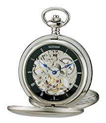 Gotham Men's Silver-Tone Double Cover Exhibition Mechanical Pocket Watch # GWC18801SB