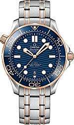 Omega Seamaster Blue Dial 18k Rose Gold and Steel Men's Watch 210.20.42.20.03.002