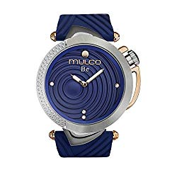 Mulco Be Zen Swiss Quartz Women's Watch | Premium Pearl Finishing Sundial Display with Rose Gold and Swarovsky Accents | Blue Watch Band | Water Resistant Stainless Steel Watch | MW5-4822-041
