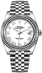 Rolex Datejust 41 White Roman Numeral Dial Men's Watch on Jubilee Bracelet 126334